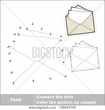 Vector numbers game. paper envelope to be traced.