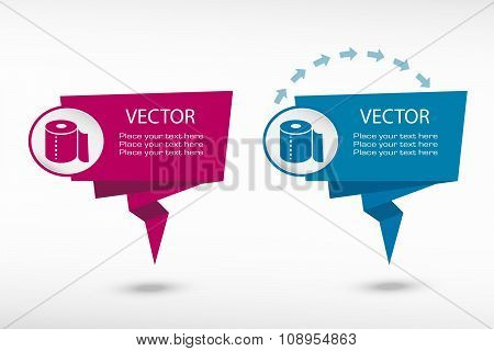 Toilet Paper Icon On Origami Paper Speech Bubble Or Web Banner, Prints