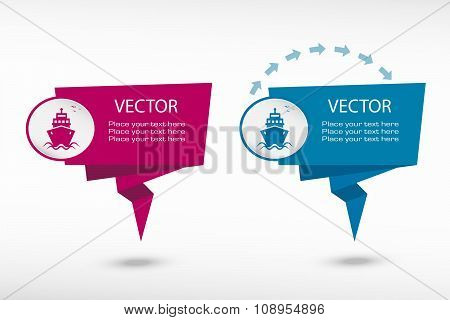 Ship Icon On Origami Paper Speech Bubble Or Web Banner, Prints