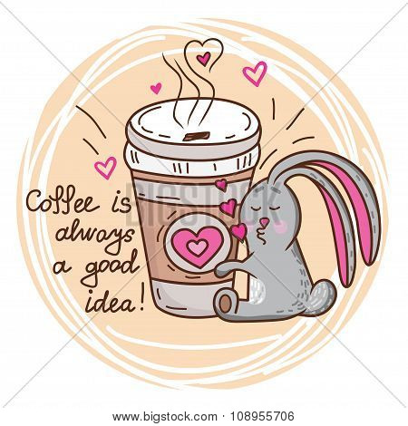 bunny and coffee
