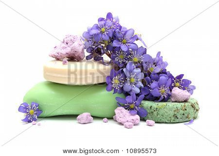 Organic Herbal Soap, Pieces Of Foam Bath, Dry Shampoo And Violet Flowers