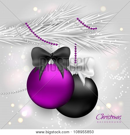 Christmas Background With Silver Fir Tree And Balls