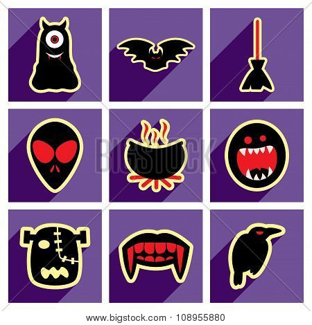 Flat with shadow concept Hallowe'en stylish icons on bright background