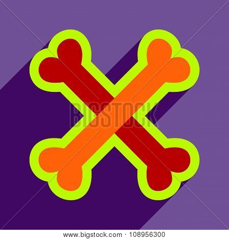 Flat with shadow Icon cross bones stacked on colored background