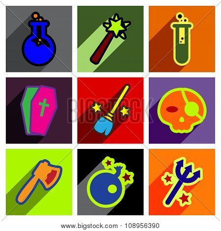Flat with shadow concept Halloween Icons on a colored background