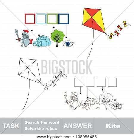 Vector game. Find hidden word kite. Search the word.
