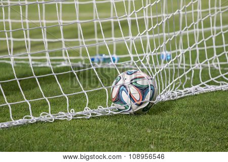 Varna, Bulgaria - May 30, 2015: Close-up Official Fifa 2014 World Cup Ball (brazuca) In The Goal (ne