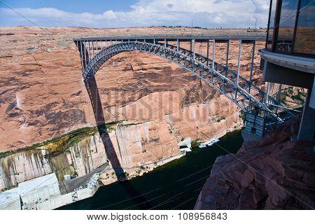 Bridge Spans The The Colorado At Glen Canyon Dam Near Page