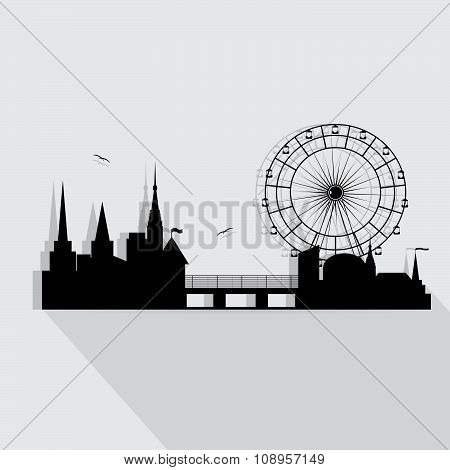 icon city and silhouette of buildings