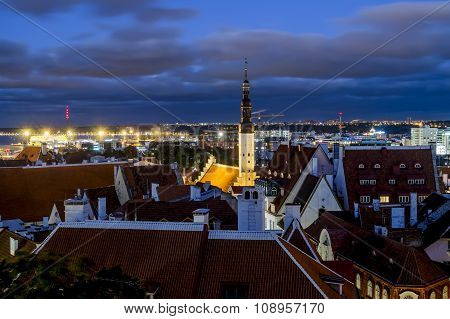 Views Of The Beautiful Evening Panorama Of Old Tallinn In  Lighting