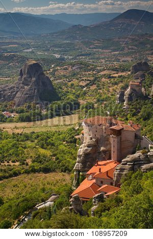 Meteora. Two Monastery On The Cliffs And A View Of The Valley