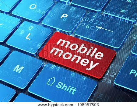 Money concept: Mobile Money on computer keyboard background