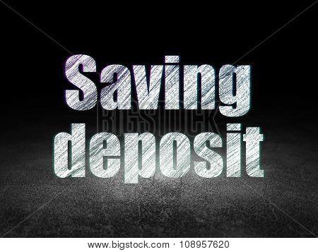 Currency concept: Saving Deposit in grunge dark room