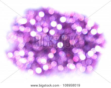 Purple bokeh light, blurry sparkles on white background, place for your text