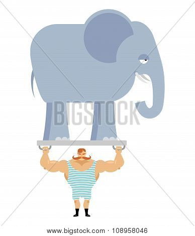 Ancient Athlete And Elephant. Vintage Circus Strongman. Bodybuilder With Big Moustaches Acts In Circ