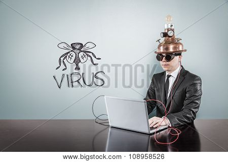 Virus concept with vintage businessman and laptop
