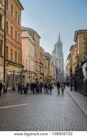 Florianska street with church behind