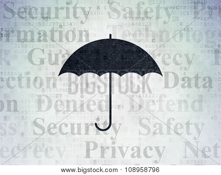Protection concept: Umbrella on Digital Paper background