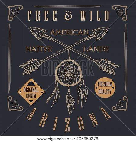 T-shirt Printing Design, Typography Graphics, Free And Wild The Native Lands Vector Illustration Wit