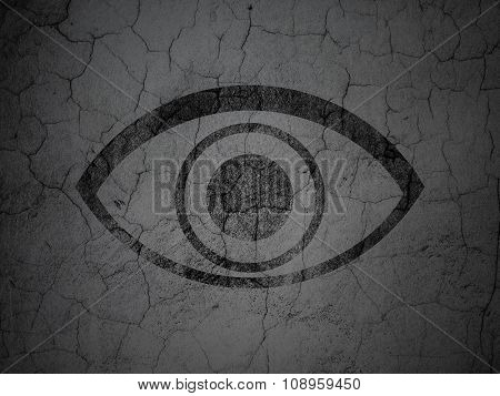 Privacy concept: Eye on grunge wall background