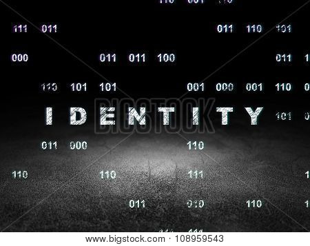 Privacy concept: Identity in grunge dark room