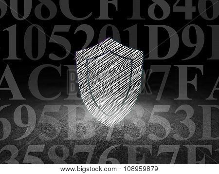 Privacy concept: Shield in grunge dark room