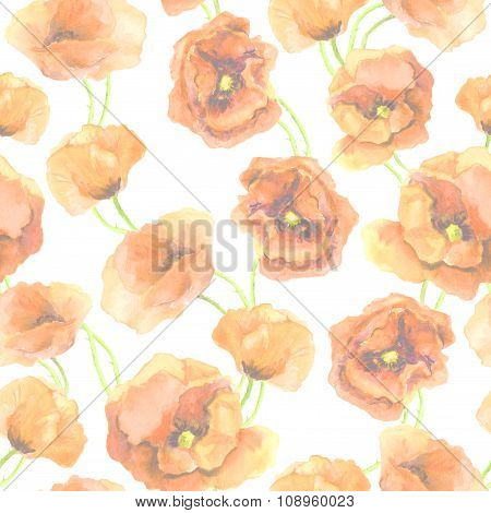Seamless floral backdrop with pastel poppy flowers. Watercolor hand painted art