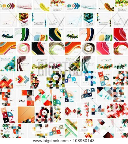 Huge mega collection of abstract geometric paper graphic layouts. Universal backgrounds, presentation templates or web covers. Vector illustration