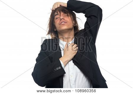 Young brunette man with headache