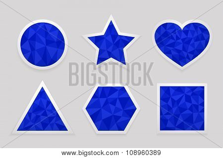 Geometric shape from triangles. Set of blue labels