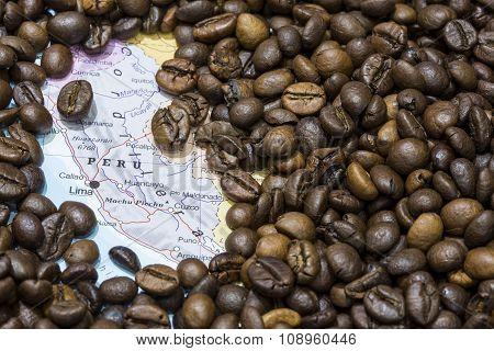 Map Of Peru Under A Background Of Coffee Beans