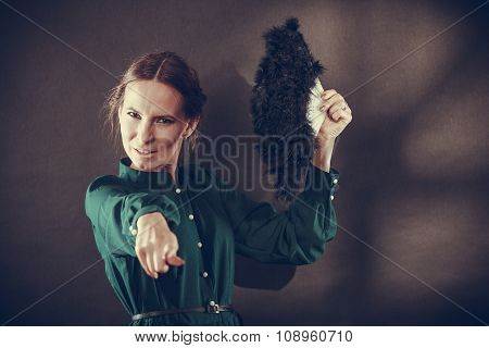 Vintage Lady With Feather Fan On Dark