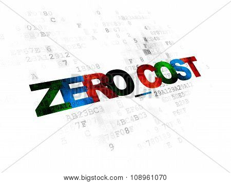 Business concept: Zero cost on Digital background