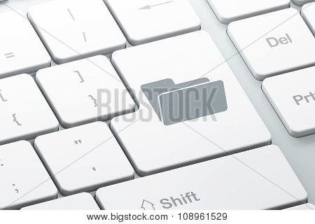 Business concept: Folder on computer keyboard background