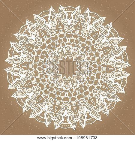 Mandala, Round Ethnic Ornament. Vintage Lace Pattern. Vector Circle Background.
