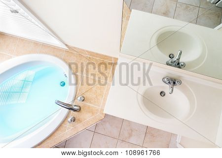 Interior Architecture Of Full Bathtub And Acrylic Sink