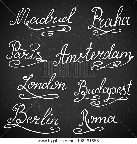 Calligraphy Collection. Hand-lettering City Names. City Emblems Vector Illustration