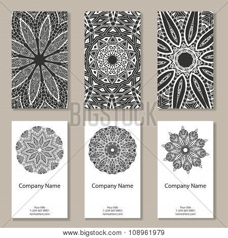 Set Of  Business Cards. Vintage Pattern In Retro Style With Ornament