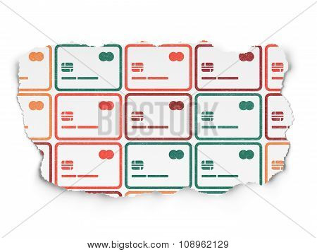 Finance concept: Credit Card icons on Torn Paper background