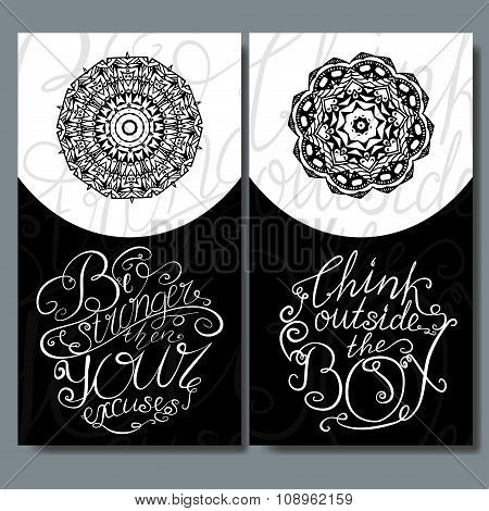 Decorative Vector Illustration With Hand-drawn Lettering. Typographic Background For Card. Calligrap