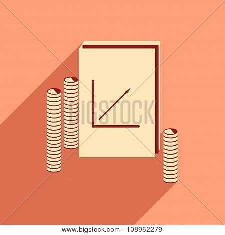 Modern flat icon with shadow Report and coins