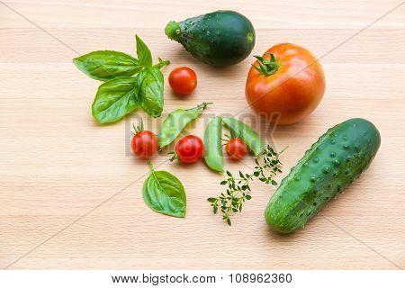 Mix Of Vegetables On Wooden Background - Summer Garden Harvest.