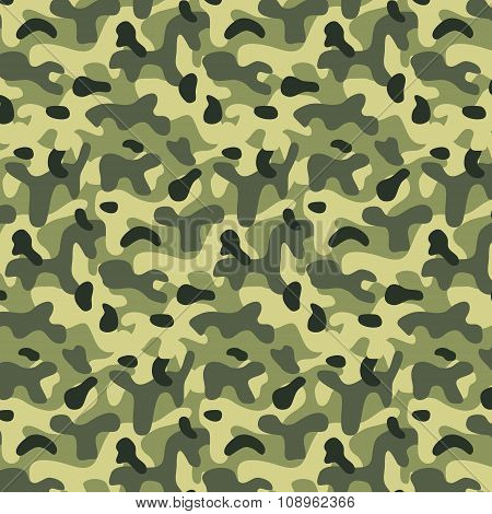 Seamless Editable Military Pattern With Camouflage