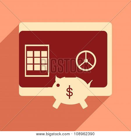 Modern flat icon with shadow safe and piggy bank