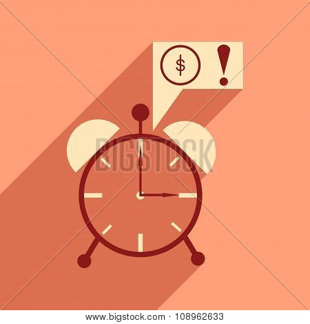 Modern flat icon with shadow alarm clock