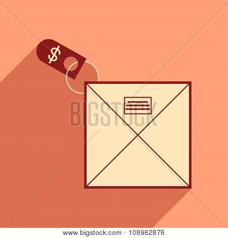 Modern flat icon with shadow envelope of money