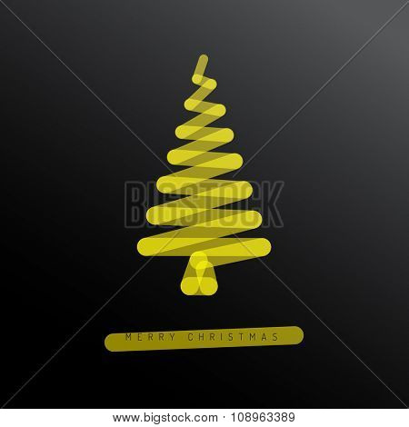 Simple minimalistic vector christmas tree made from one marker line - dark version with yellow ink