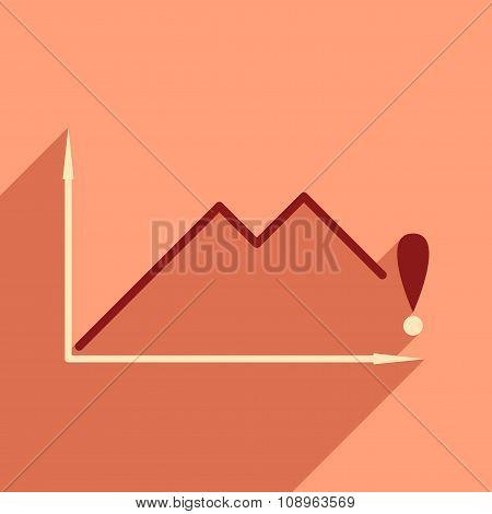 Flat design modern vector illustration icon falling economy graph