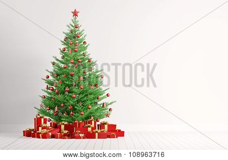 Interior Of A White Room With Christmas Tree 3D Render