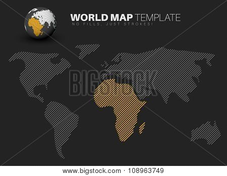 World map template made from diagonal lines for your infographics reports - dark version